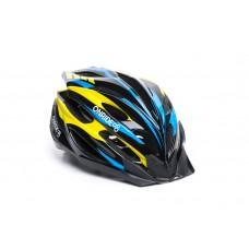 Велошлем ONRIDE Grip глянцевый черный/желтый/голубой L (58-61 см)
