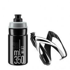 Комплект ELITE CEO: фляготримач чорний/білий + фляга чорна 350мл