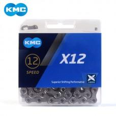 Цепь KMC X12 12 скоростей 126 звеньев + замок серебряный / серебряный